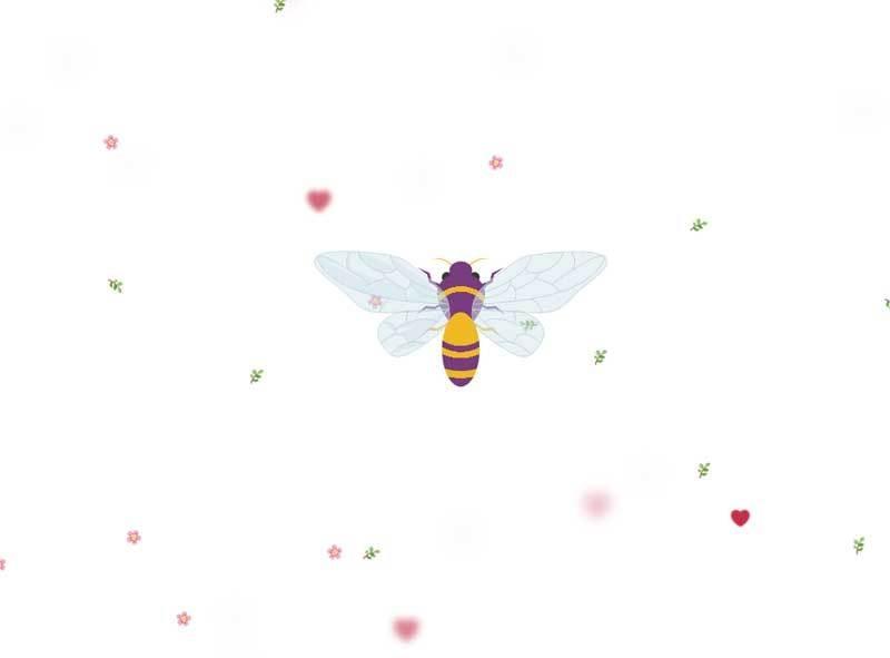 css3 svg蜜蜂小树叶花朵动画特效